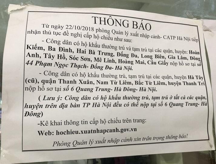 Cấp hộ chiếu tại Hà Nội